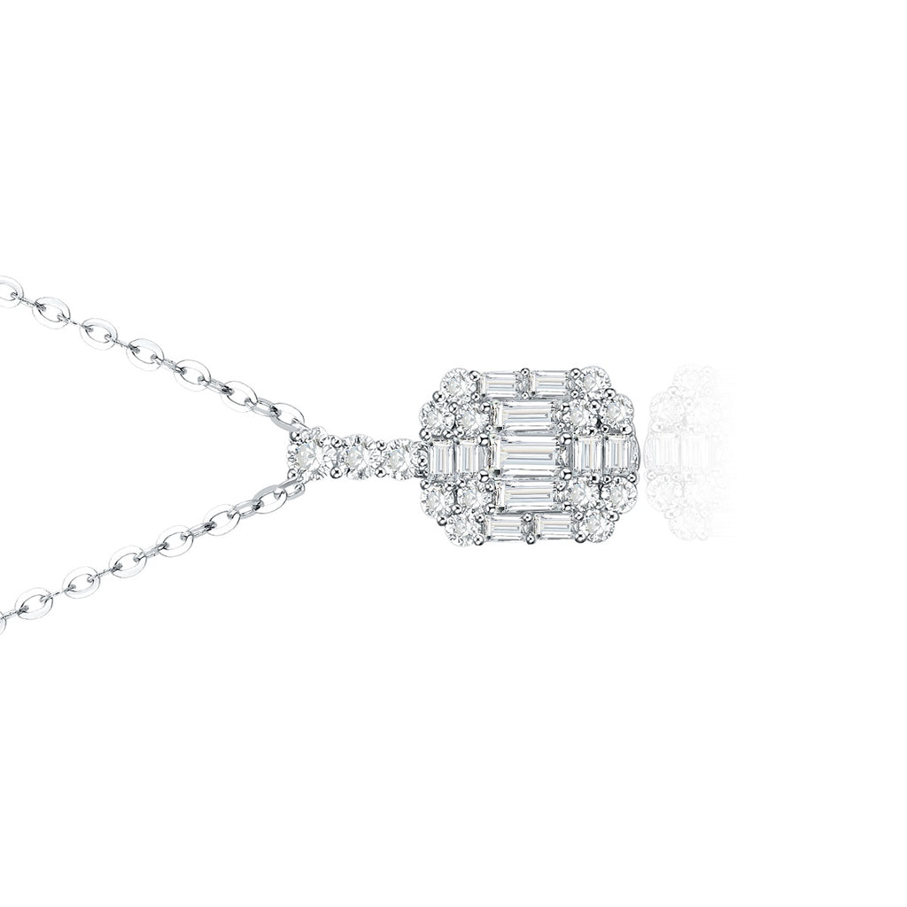 REEMARK™ 18k White Gold Baguette Diamond Channel Pendant (1/2 cttw, I-J Color, I1-I2 Clarity)
