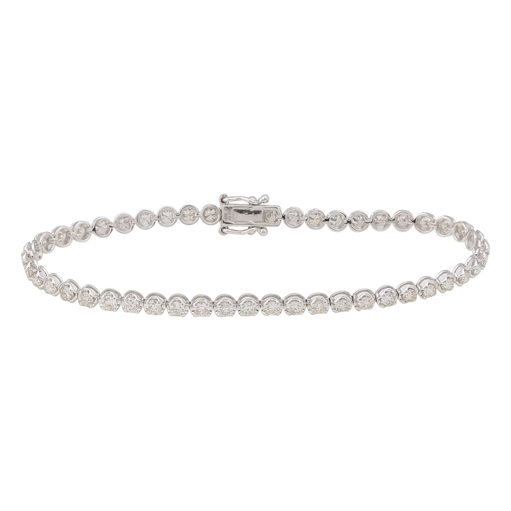 REEMARK™ 18k White Gold 3mm Diamond Strand Tennis Bracelet (3 cttw, I-J Color, I1-I2 Clarity), 7""