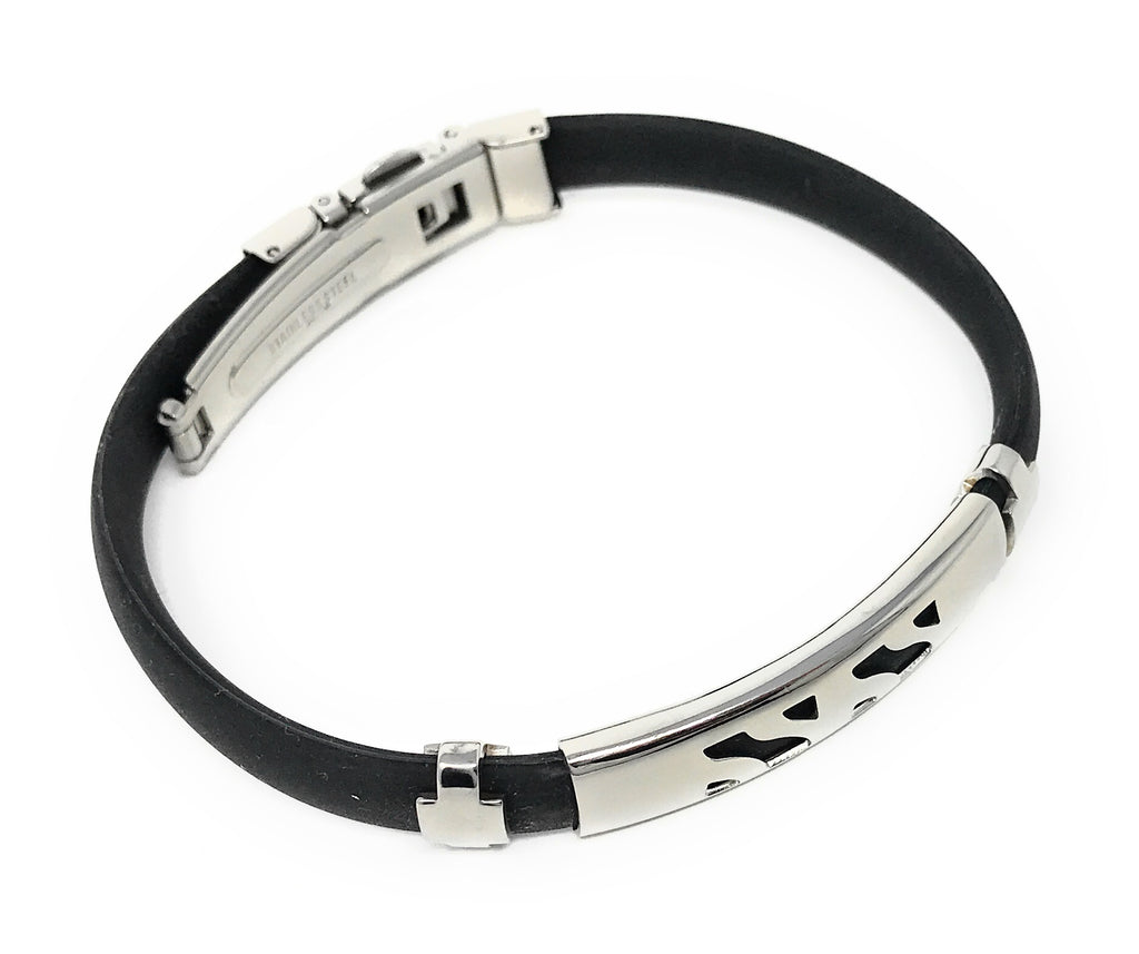 Men's Stainless Steel Black Rubber Bracelet