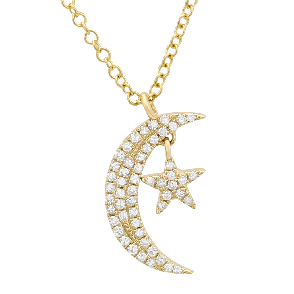 14k Yellow Gold Diamond Pave Moon Star Pendant Necklace (1/8 cttw), 16+2""
