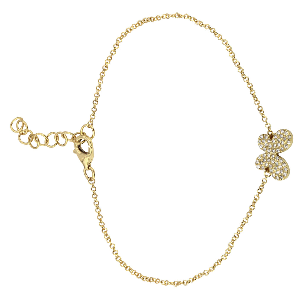 """Remark"" 14k Yellow Gold Diamond Pave Butterfly Charm Bracelet (1/8 cttw, H-I Color, I1-I2 Clarity), 6+1"" Extender"