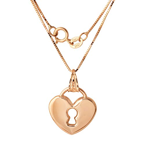 "14k Gold Heart Lock Pendant Necklace, 18"" - Bee Jewels"