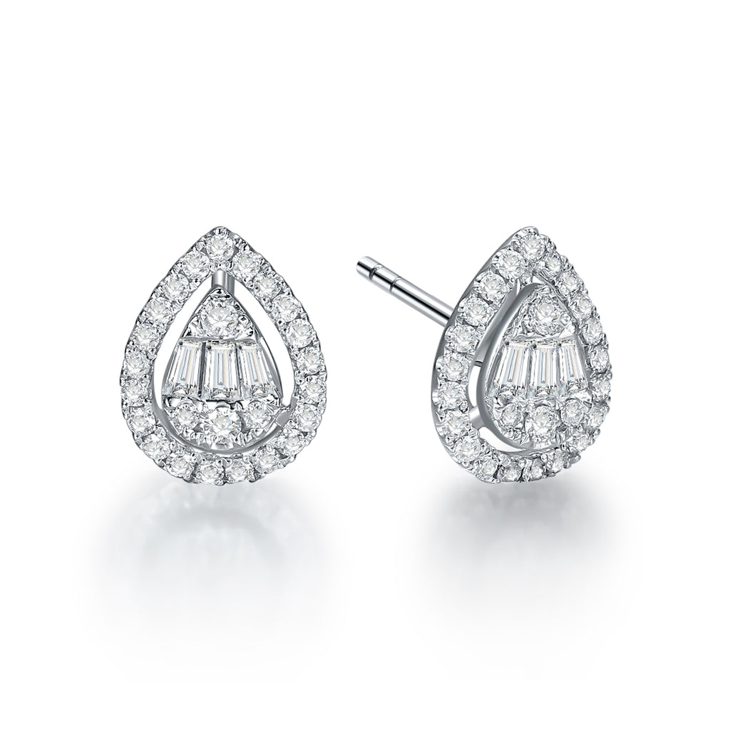 REEMARK™ 18k White Gold Baguette Diamond Pear Stud Earrings (3/8 cttw, I-J Color, I1-I2 Clarity)