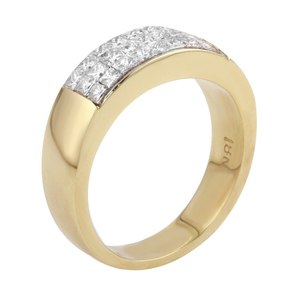 Women's 18k Yellow Gold Diamond Wedding Ring Anniversary Band