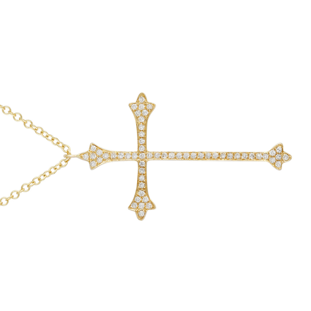 "14k Yellow Gold Diamond Crucifix Cross Pendant Necklace (1/10 cttw, H-I Color, I1-I2 Clarity), 16+2"" Extender"
