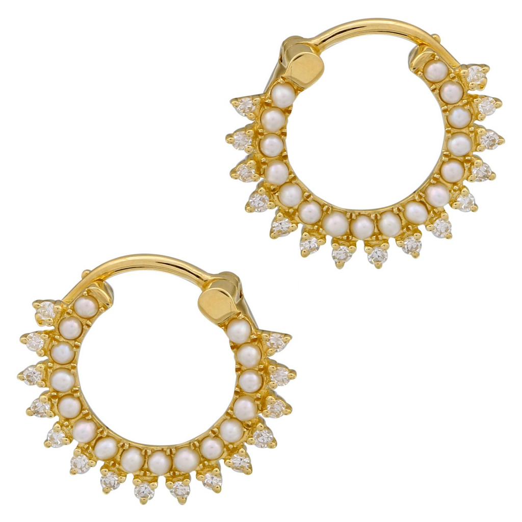 14k Yellow Gold Diamond Pearl Lace Hoop Earrings (1/6 cttw, I-J Color, I2-I3 Clarity) 13mm Diameter
