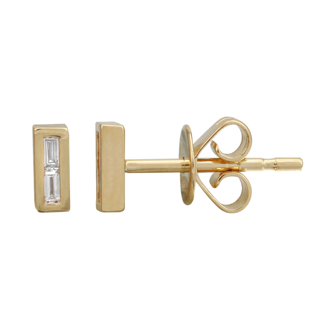 """Remark"" 14k Yellow Gold Diamond Baguette Bar Stud Earrings (0.06 ct, J-K Color, SI2-I1 Clarity)"