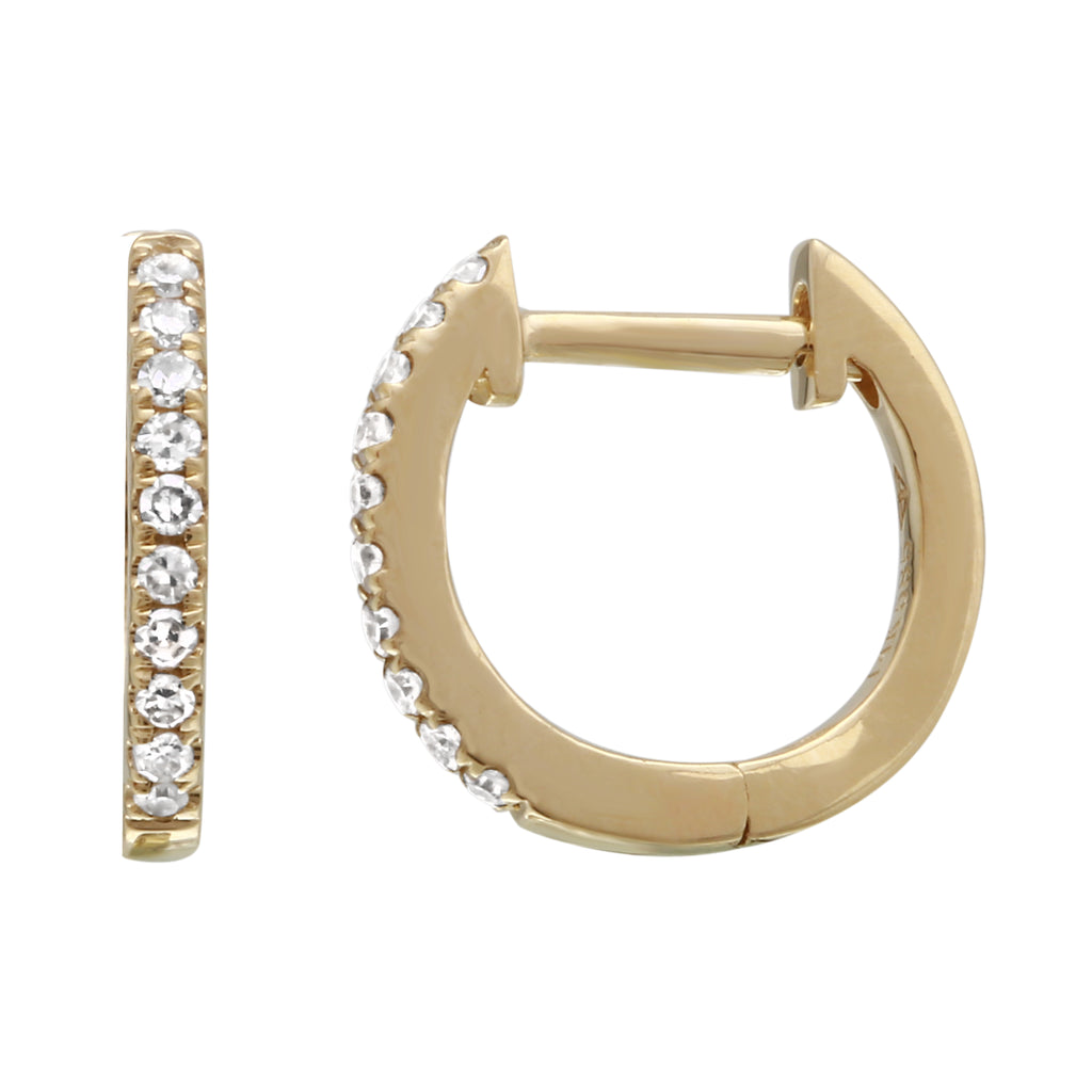 """Remark"" 14k Yellow Gold Diamond Hoop Earrings (1/10 cttw, H-I Color, I1-I2 Clarity), 11mm Diameter"