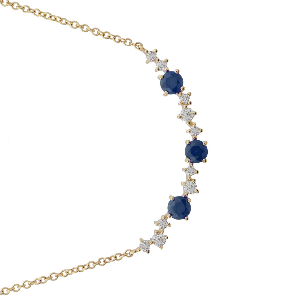 "14k Yellow Gold Diamond Sapphire Accent Station Pendant Necklace (1/10 cttw, J-K Color, S2-I1 Clarity), 16+2"" Extender"
