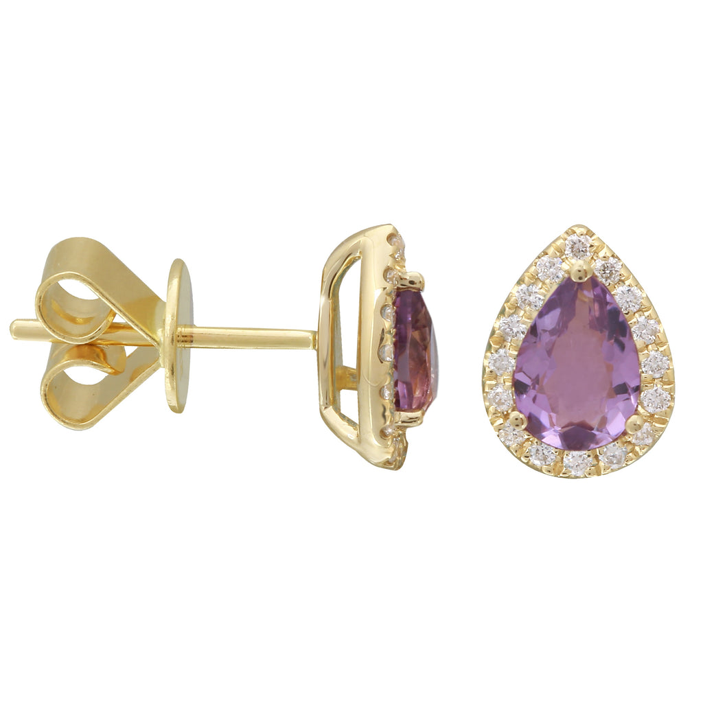 14k Yellow Gold Amethyst Diamond Pear Halo Stud Earrings (1/10 cttw, I-J Color, I2-I3 Clarity)