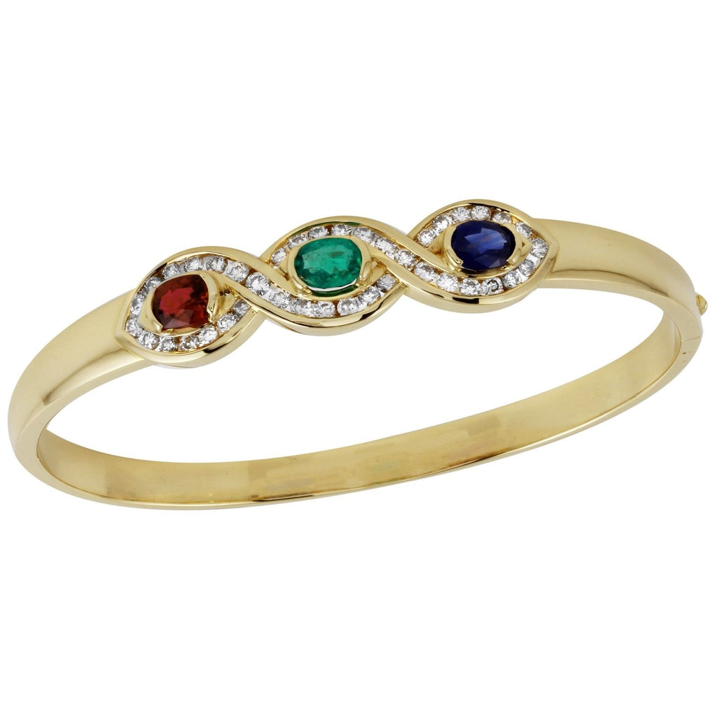 18k Yellow Gold Bangle Diamonds Emerald Ruby Sapphire Bracelet