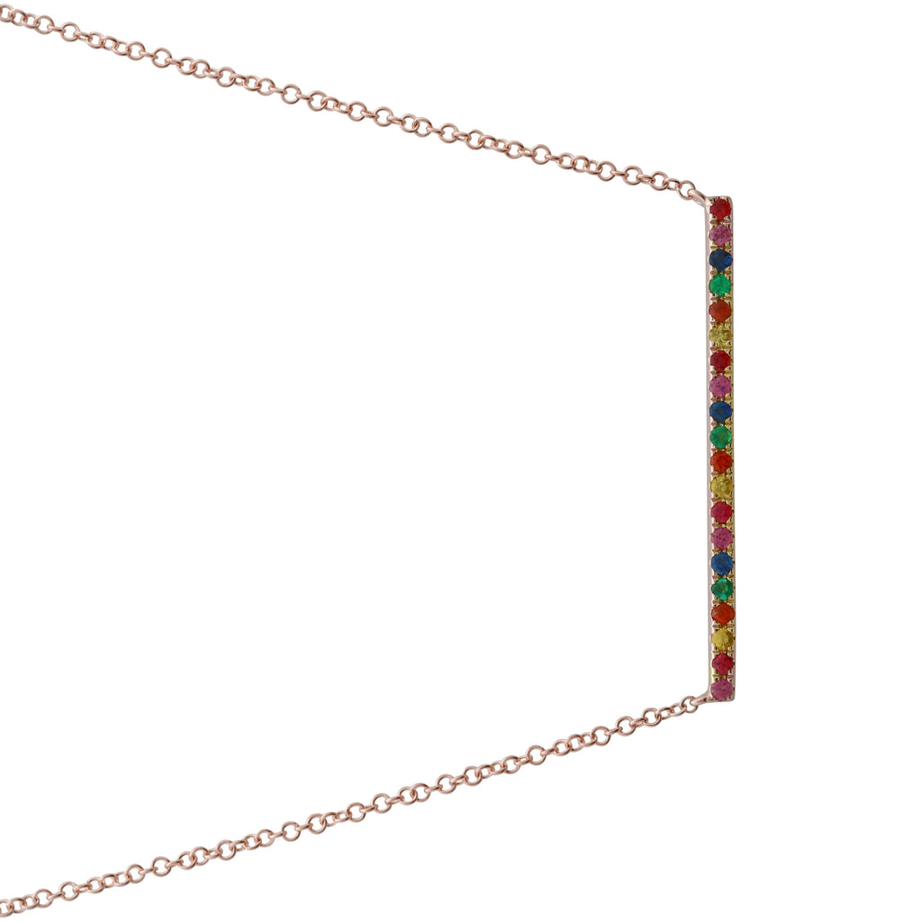 14k Rose Gold Rainbow Sapphire Suspended Bar Pendant Necklace (1/5 cttw), 16+2""