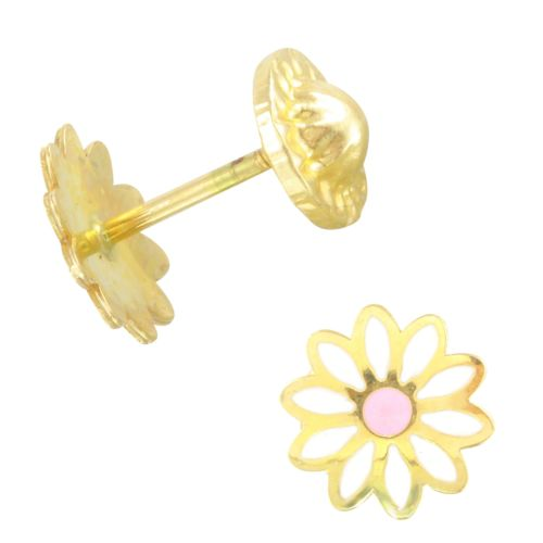 14k Yellow Gold Pink Daisy Baby Stud Earrings