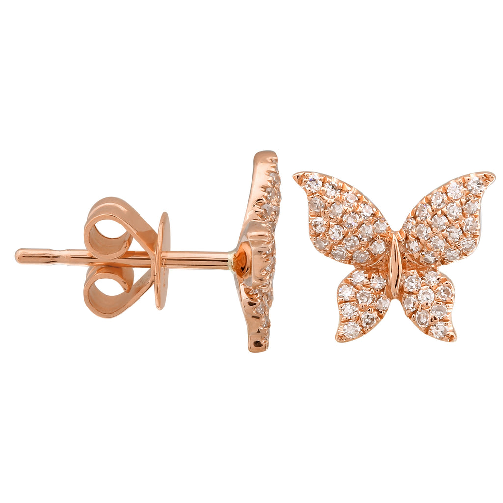 14k Rose Gold Diamond Floating Butterfly Stud Earrings (1/5 cttw)