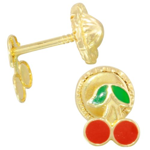 Cherry Solid Yellow 14k Yellow Gold Red and Green Enamel Baby Earrings