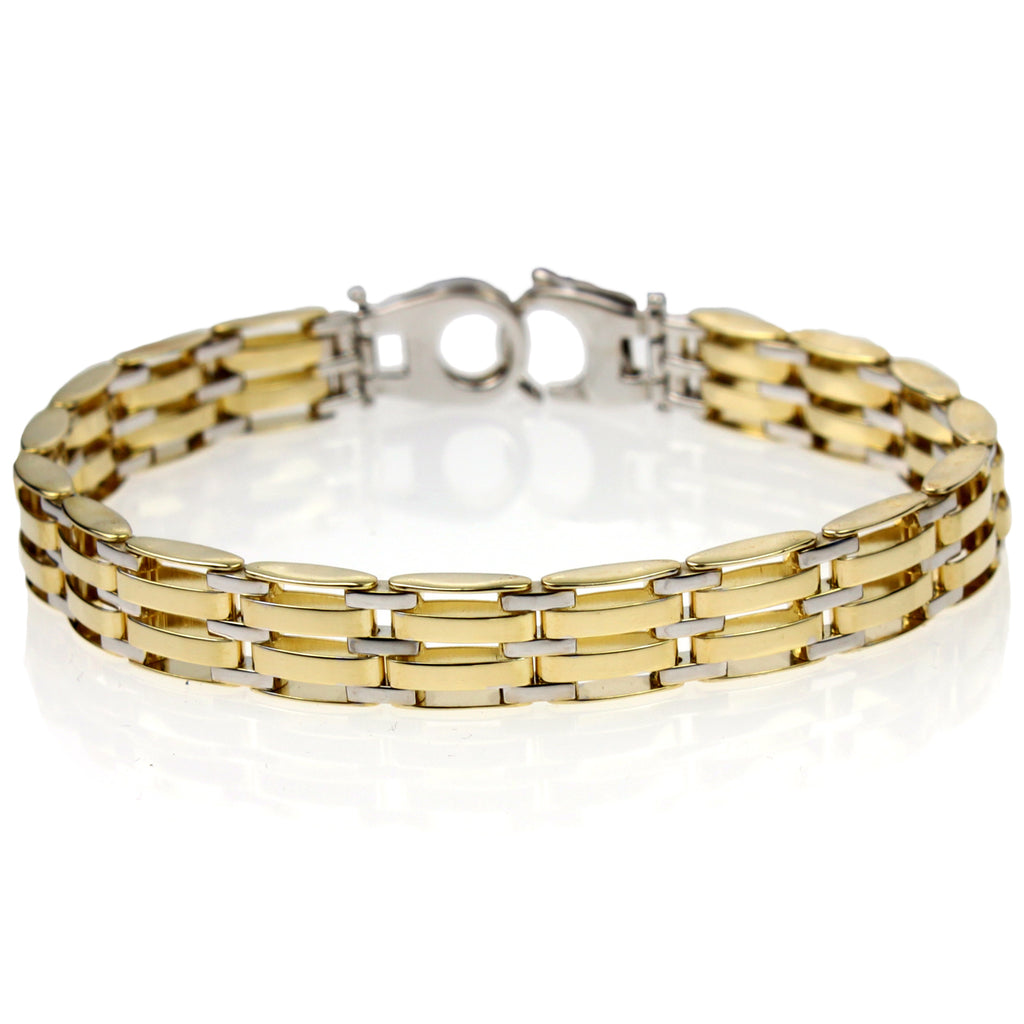 Men's 14k Gold-Bonded Sterling Silver Two-Tone 8.9mm Link Bracelet, 8""