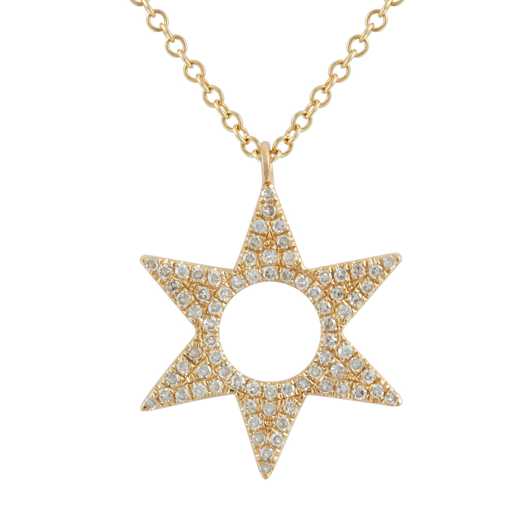 14k Yellow Gold Diamond Open Circle Star Pendant Necklace (1/10 cttw, I-J Color, I2-I3 Clarity), 16+2""