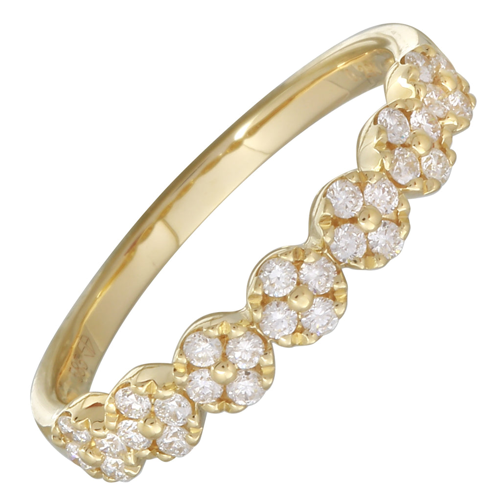 14k Yellow Gold Diamond Pave Disc Design Ring (1/4 cttw, H-I Color, I1-I2 Clarity)