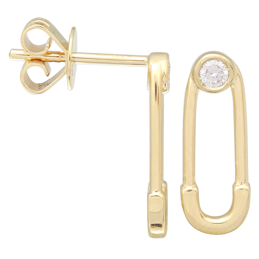 14k Yellow Gold Diamond Bezel Safety Pin Stud Earrings (1/10 cttw, H-I Color, I1-I2 Clarity)