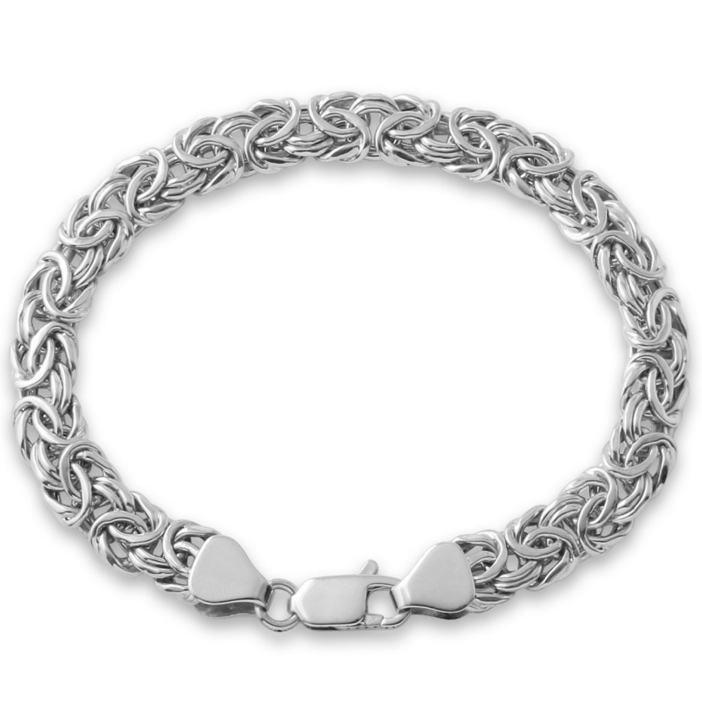 14k White Gold Ladies' Byzantine Bracelet, 7.5""