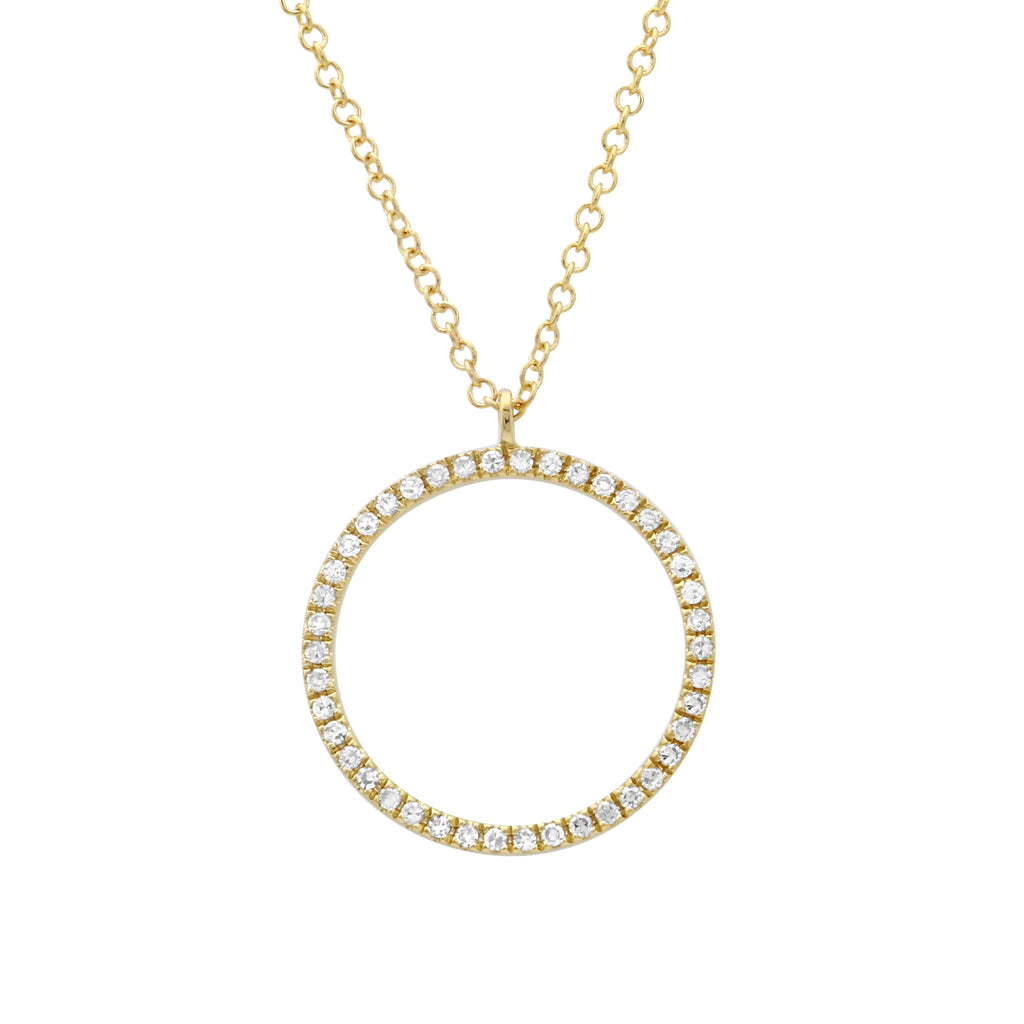 14k Yellow Gold Diamond Open Circle Pendant Necklace (1/10 cttw, H-I Color, I1-I2 Clarity), 16+2""
