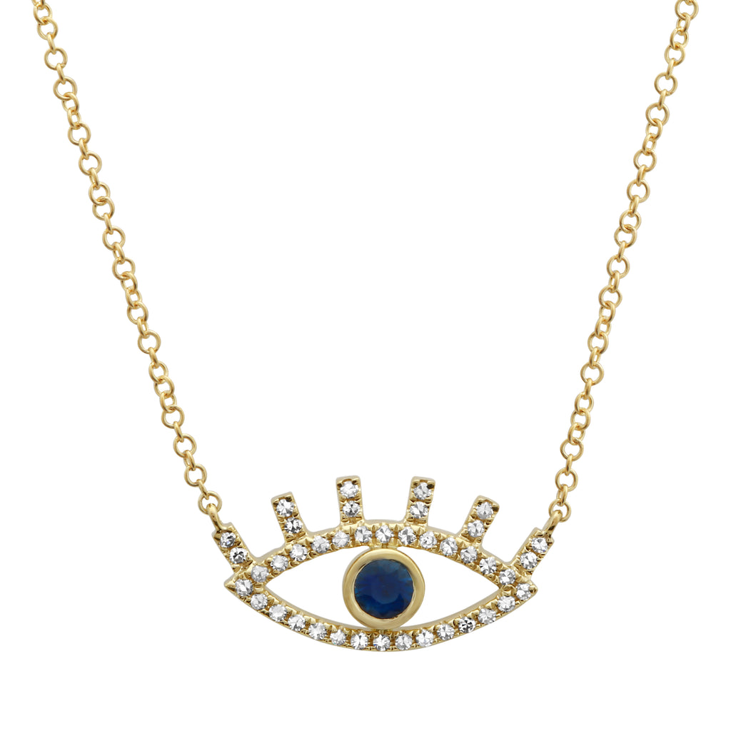 """Remark"" 14k Yellow Gold Sapphire Diamond Eye Pendant Necklace (1/8 cttw), 16+2"""