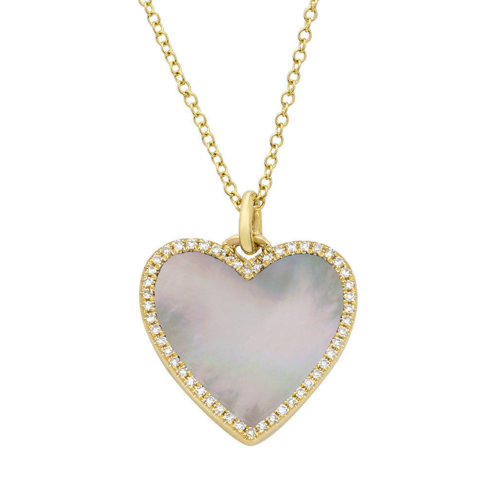 14k Yellow Gold Diamond Accent Mother of Pearl Heart Pendant Necklace (1/10 cttw), 16+2""