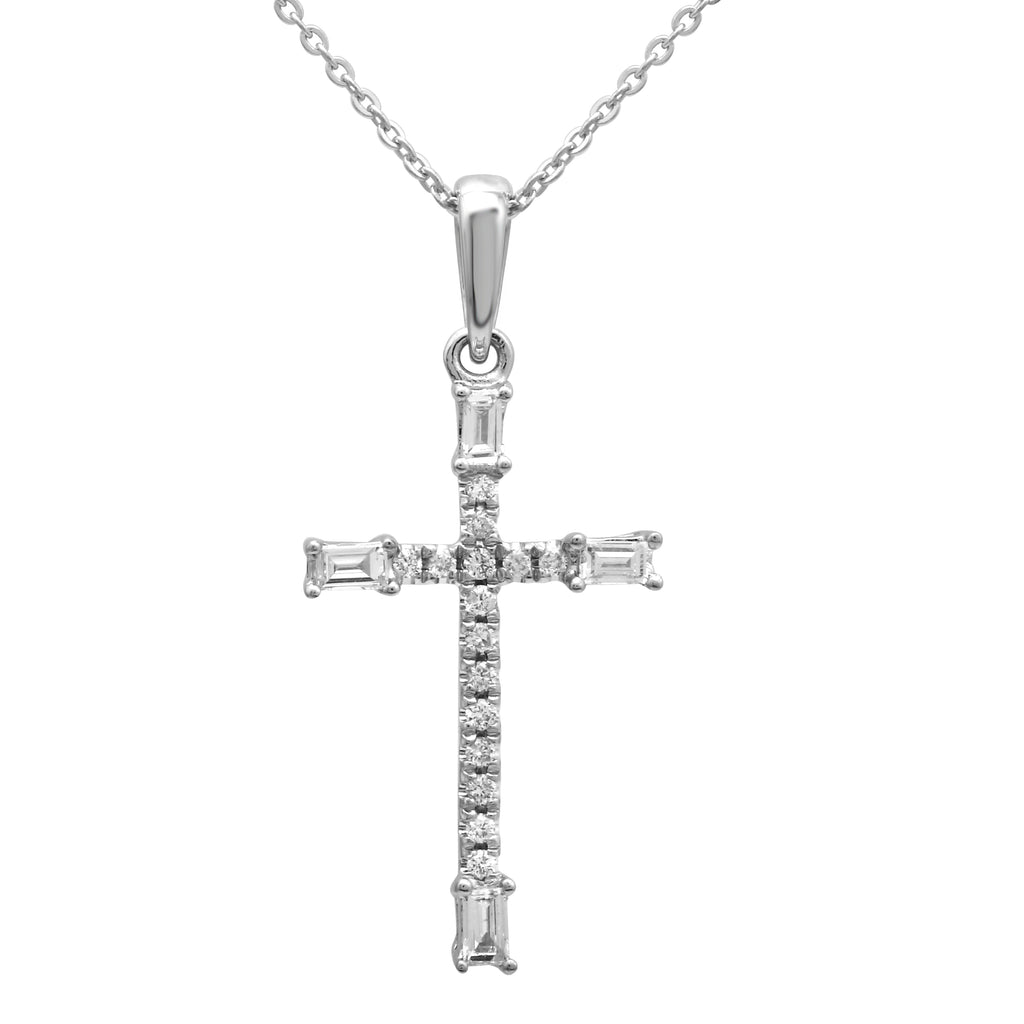 14k White Gold Baguette Round Diamond Cross Pendant Necklace (1/10 cttw), 16+2""