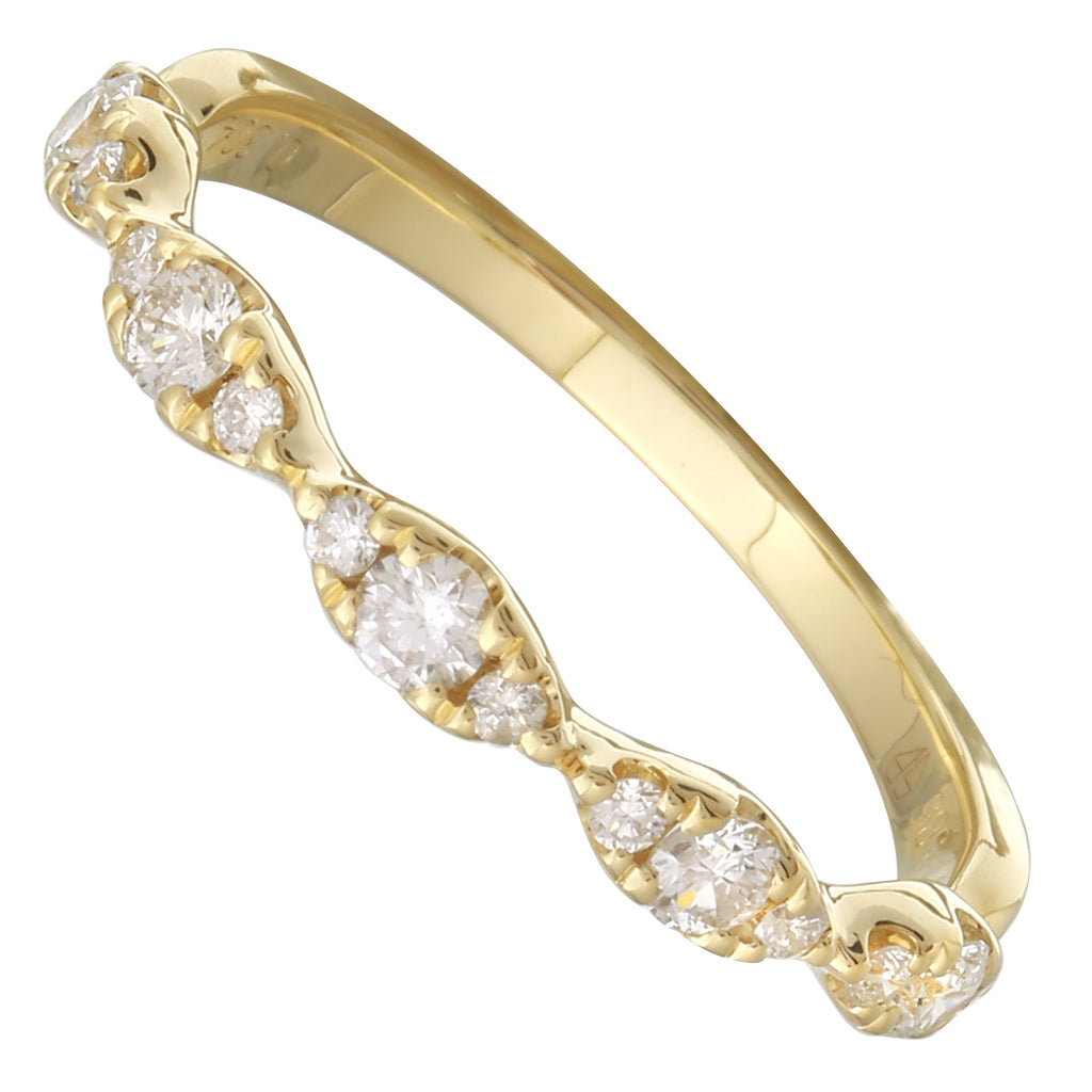 14k Yellow Gold Diamond Pave Weave Pattern Ring (1/3 cttw, H-I Color, I1-I2 Clarity)