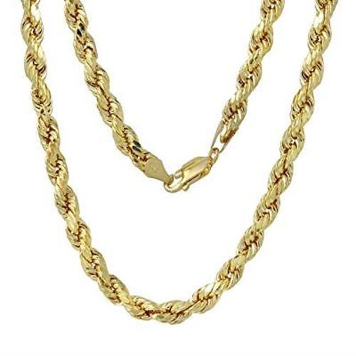 14k Yellow Gold 9.0mm Diamond-Cut Rope Chain Necklace, 24-30""