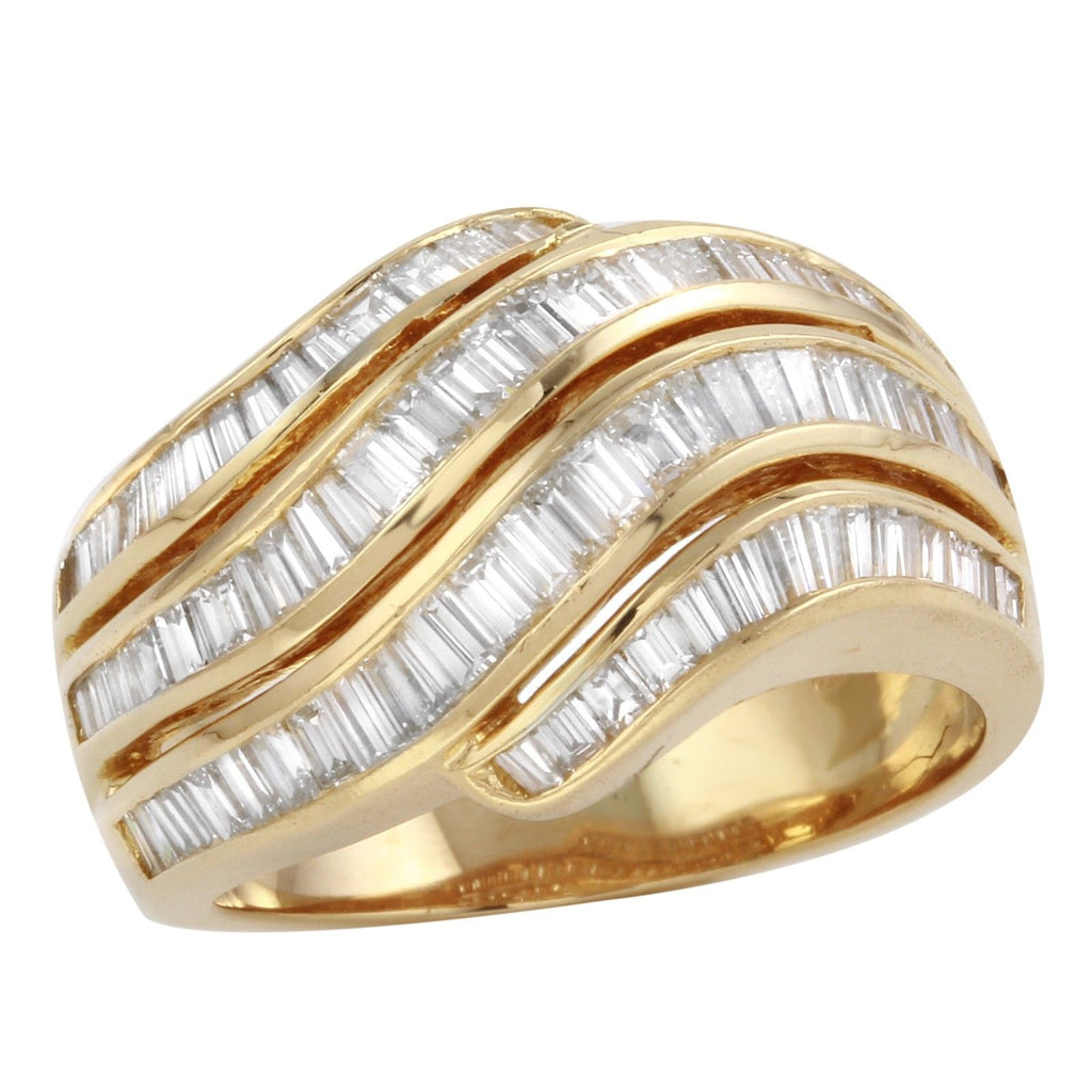 Diamond Baguette Ring 18k Yellow Gold