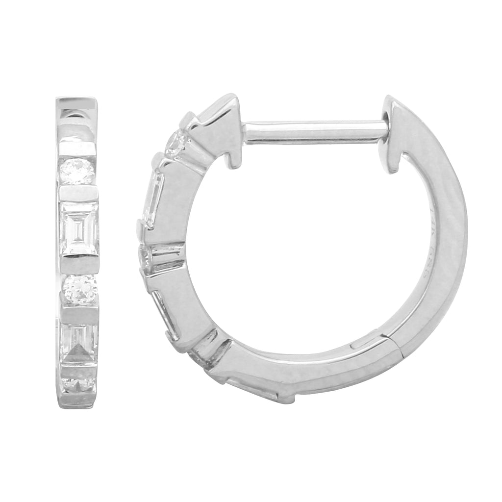 14k White Gold Diamond Channel Hoop Earrings (1/5 cttw, J-K Color, SI2-I1 Clarity) 12mm Diameter