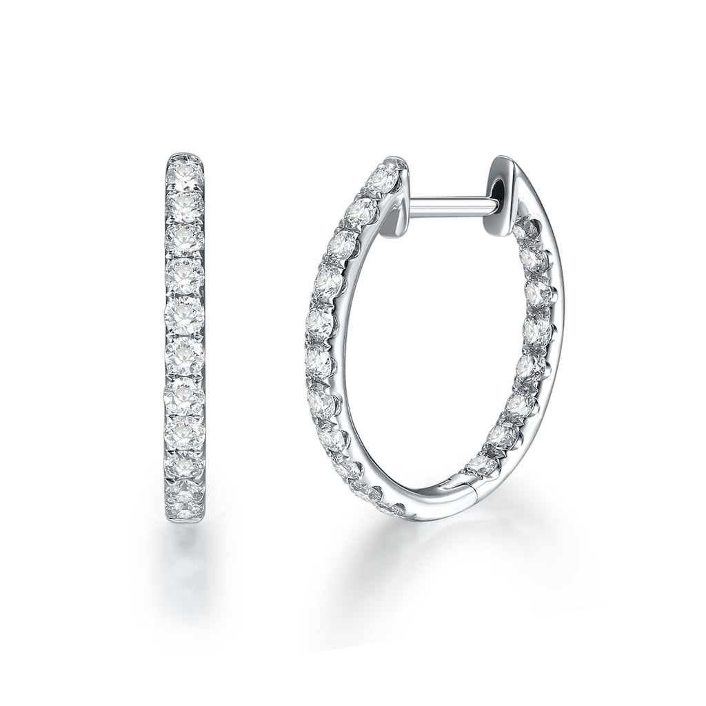 REEMARK™ 18k White Gold Diamond Hoop Earrings (1 cttw, I-J Color, I1-I2 Clarity), 18mm Diameter
