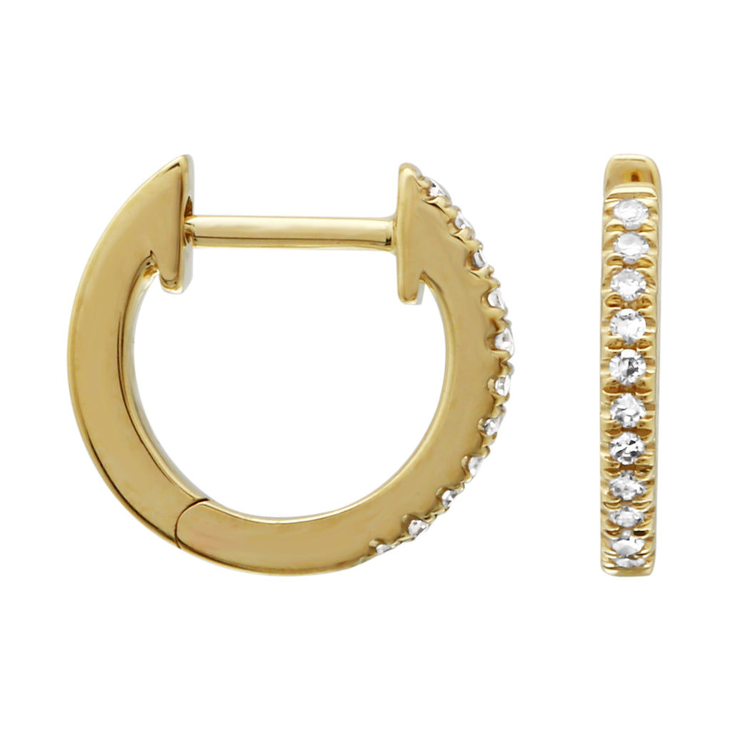 14k Yellow Gold Diamond Pave Hoop Earrings (0.05 cttw, H-I Color, I1-I2 Clarity), 9.6mm Diameter