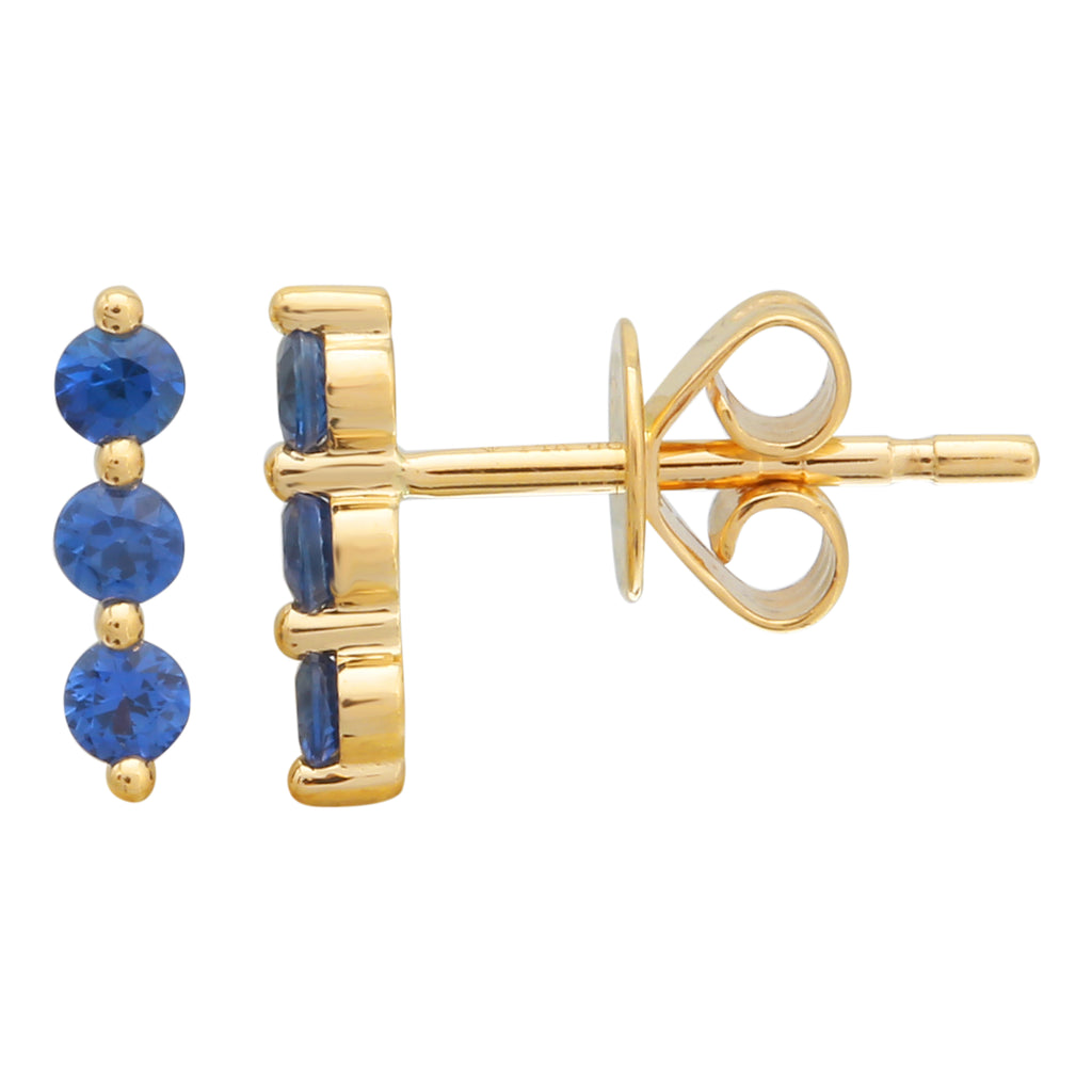 14k Yellow Gold Sapphire Linear Trio Pin Stud Earrings (1/3 cttw)