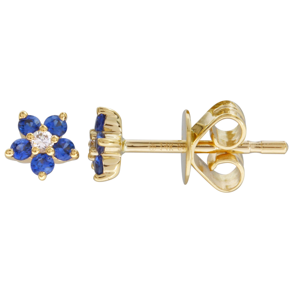 14k Yellow Gold Diamond Sapphire Flower Stud Earrings (0.04 cttw, J-K Color, SI2-I1 Clarity)