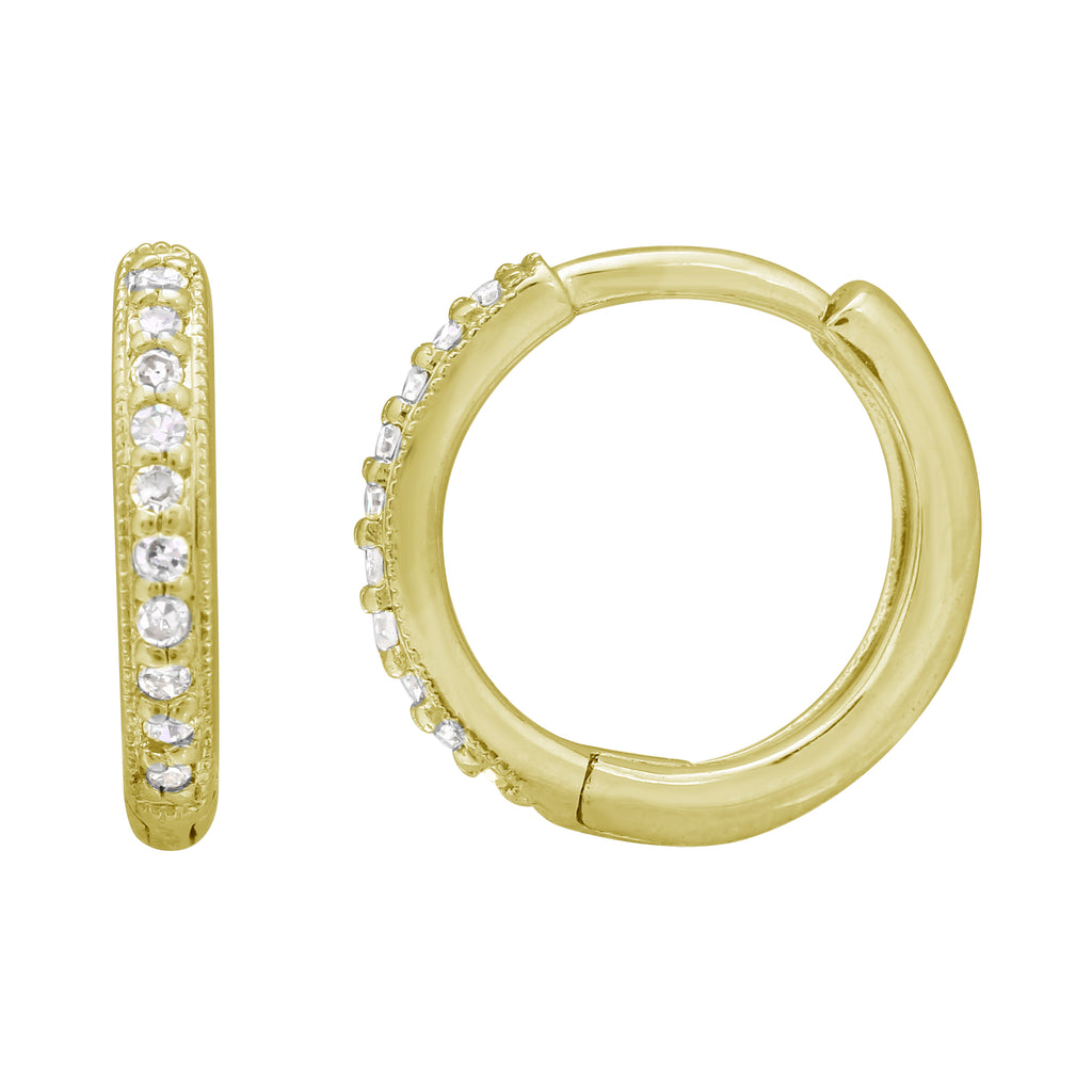 14k Yellow Gold Diamond Accent Vintage Style Hoop Earrings (1/20 cttw)