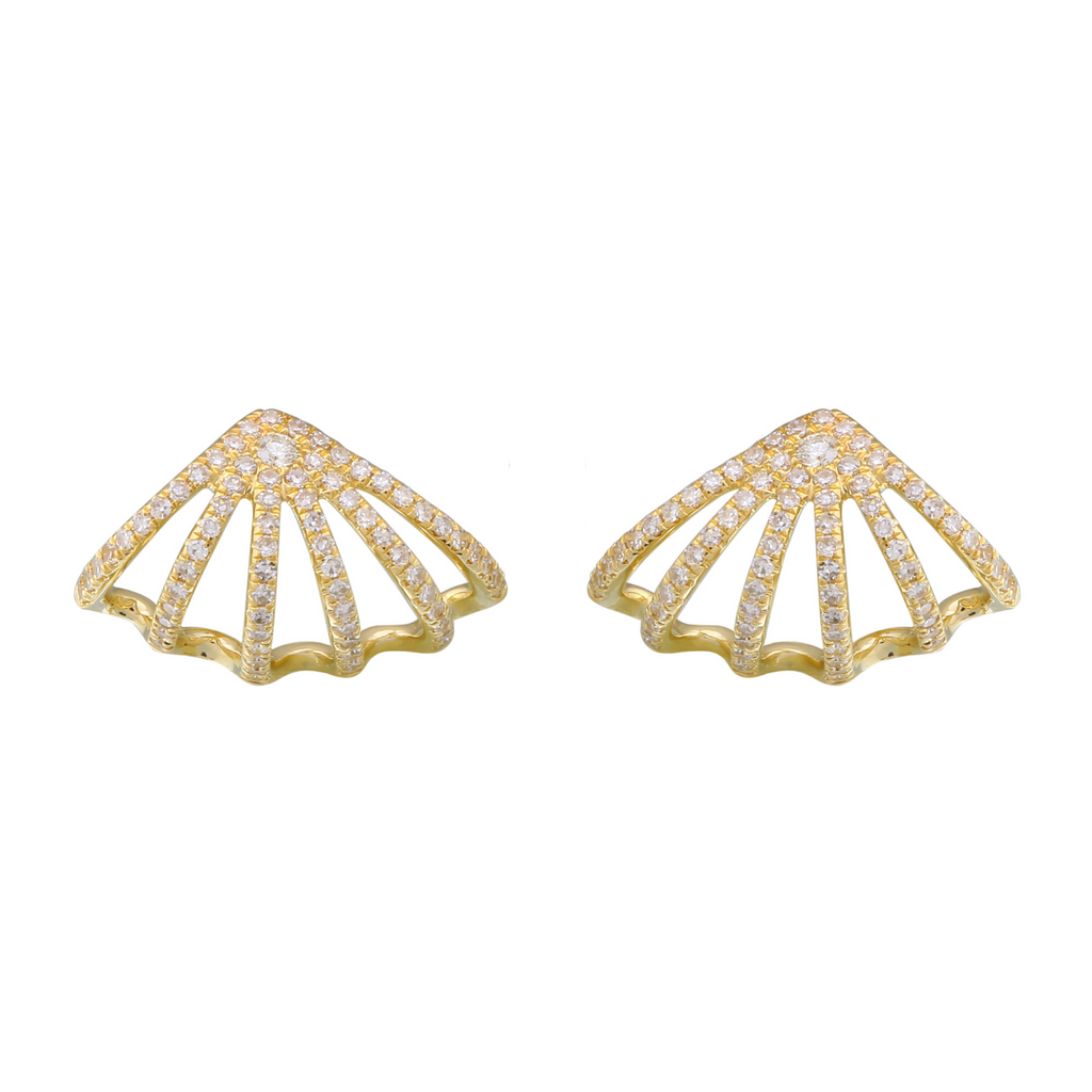 14k Yellow Gold Diamond Lobe Cuff Stud Earrings (3/8 cttw, H-I Color, I1-I2 Clarity)