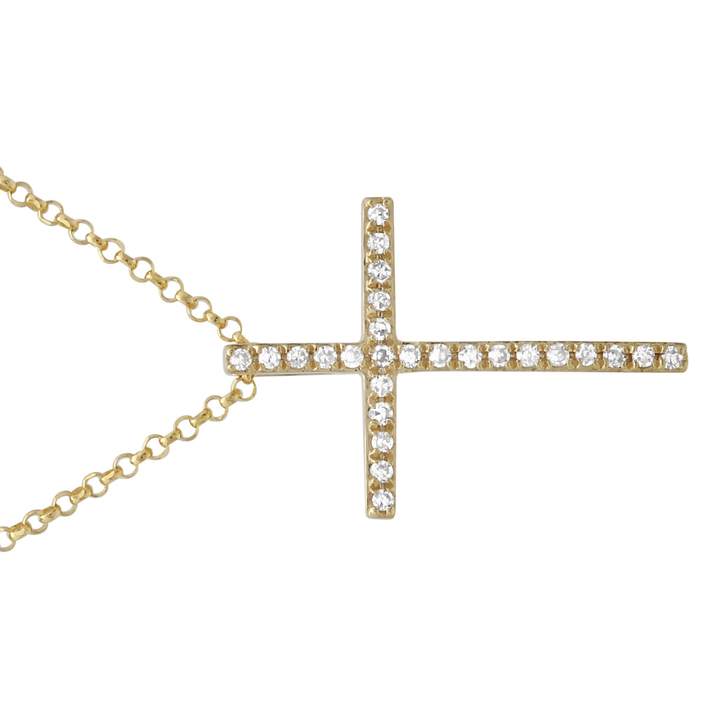 "14k Yellow Gold Diamond Pave Cross Pendant Necklace (0.07 cttw, H-I Color, SI2-I1 Clarity), 16+2"" Extender"