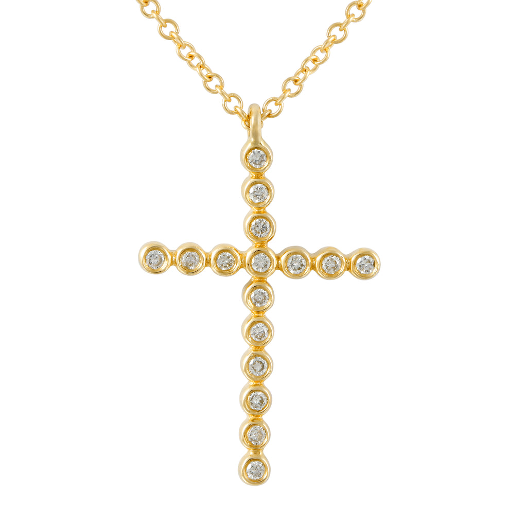"14k Yellow Gold Diamond Bezel Cross Pendant Necklace (1/10 cttw, J-K Color, SI2-I1 Clarity), 16+2"" Extender"