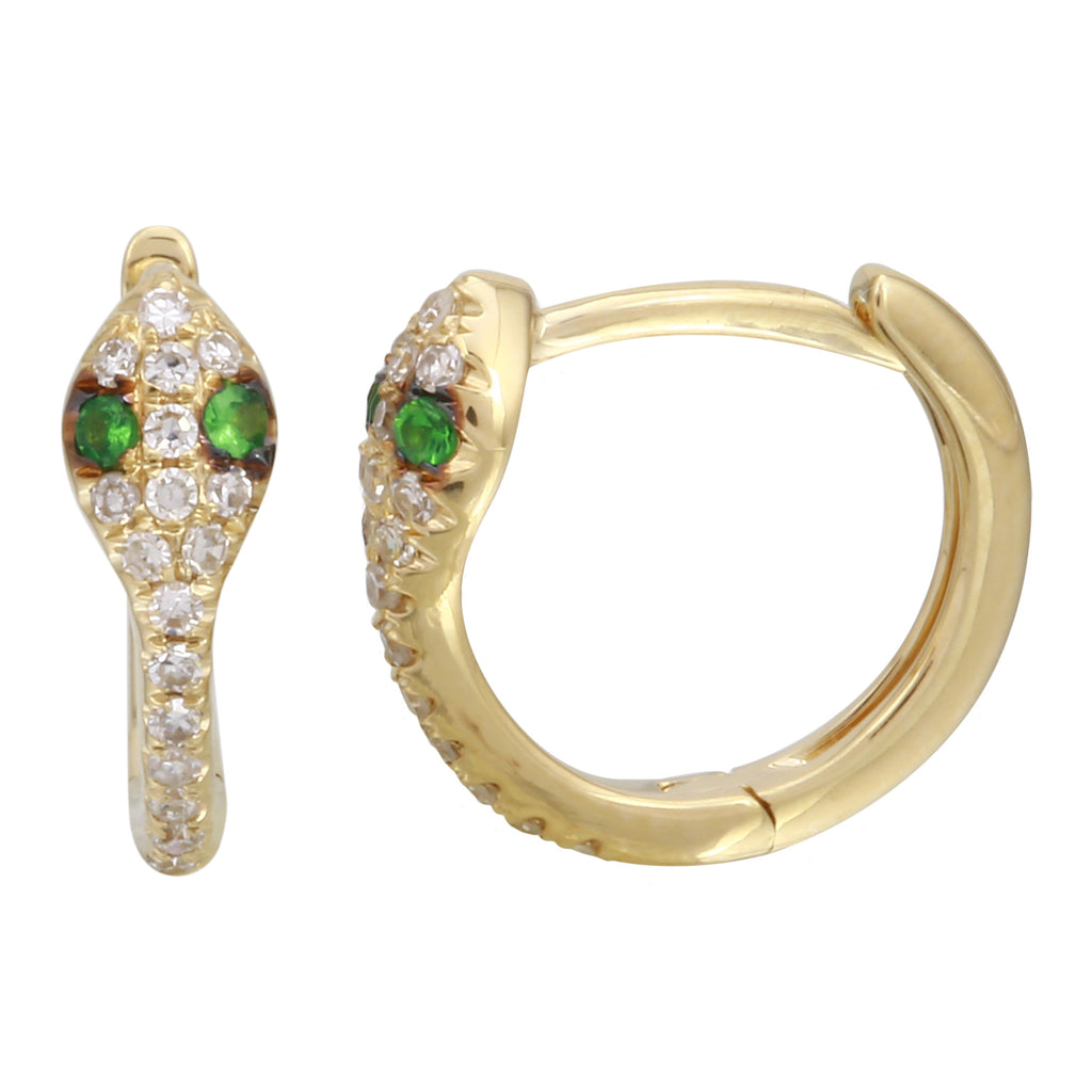 14k Yellow Gold Diamond Tsavorite Snake Hoop Earrings (1/10 cttw,), 12mm Diameter
