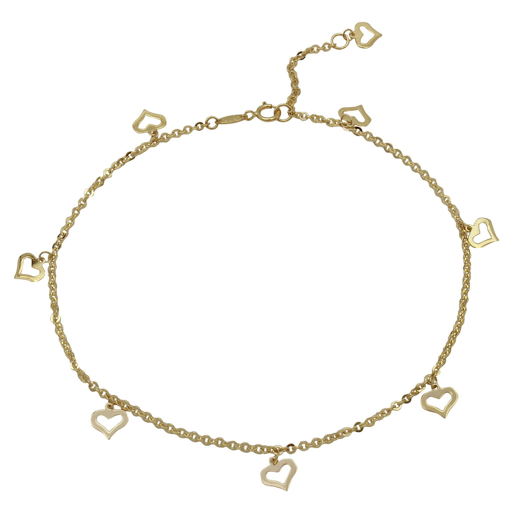 "14k Yellow Gold Flat Heart Charms Ankle Bracelet, 9+1"" Extender"