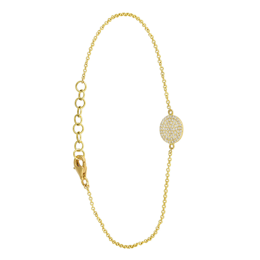 14k Yellow Gold Diamond Disc Charm Link Bracelet (1/5 cttw), 6+1""