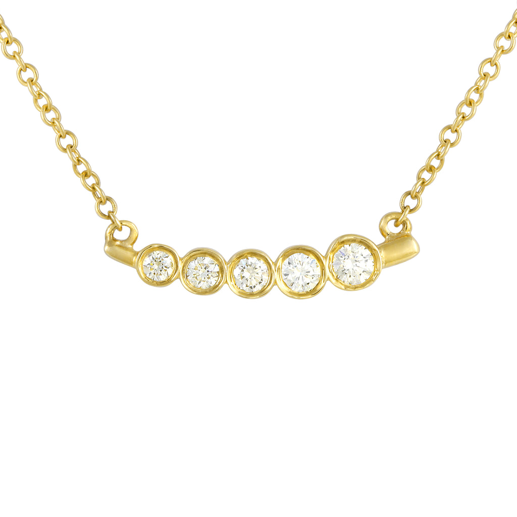 14k Yellow Gold Diamond Bezel Slant Pendant Necklace (1/10 cttw), 16-18""