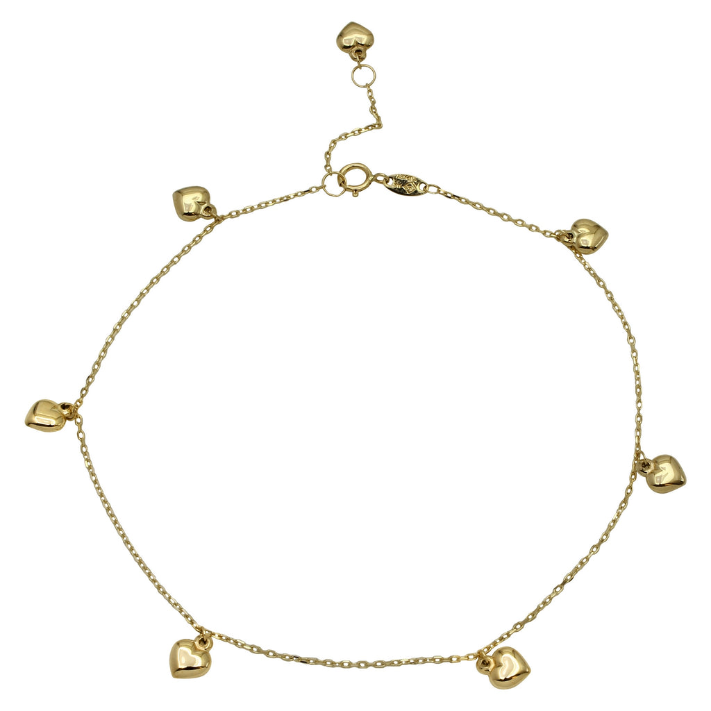 "14k Yellow Gold Puffy Heart Charms Ankle Bracelet, 9+1"" Extender"