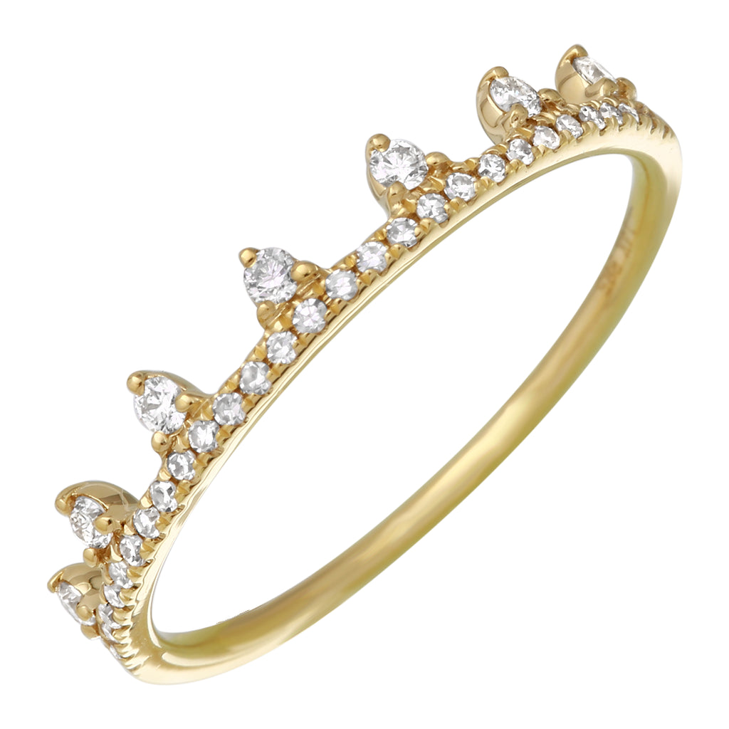 14k Yellow Gold Diamond Accent Crown Ring (1/5 cttw, I-J Color, I2-I3 Clarity)