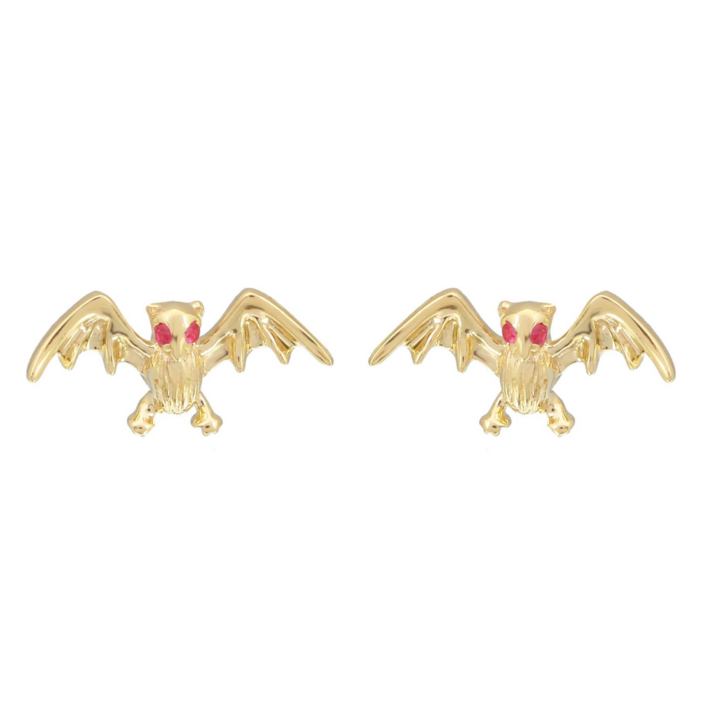 14k Yellow Gold Ruby Bat Stud Earrings (1/20 cttw)