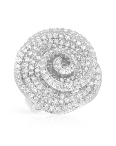 Cocktail Ring 925 CZ Crystal Spiral Flower