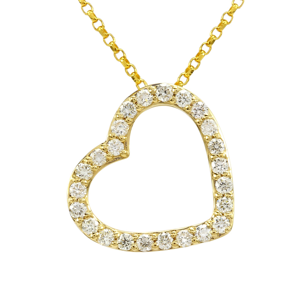 14k Yellow Gold Diamond Pave Fallen Heart Pendant Necklace (1/4 cttw), 16+2""