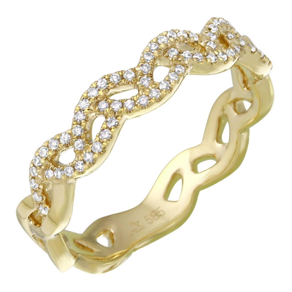 14k Yellow Gold Diamond Pave Endless Oval Links Ring (1/10 cttw, H-I Color, I1-I2 Clarity)